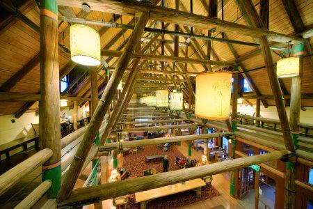 MT RAINIER - AUGUST 16, 2017: Beautiful interior of national park restaurant. Mt Rainier is a major tourist attraction in Washington.