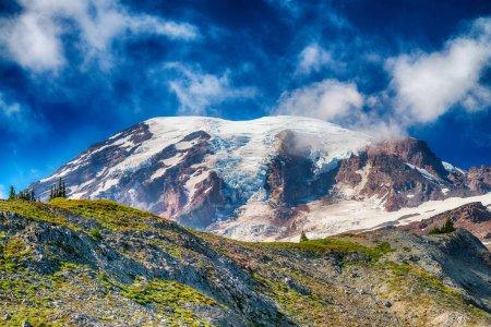 Beautiful Mt Rainier on a blue summer sky.