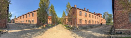 Buildings of concentration camp at Auschwitz Birkenau, panoramic view.