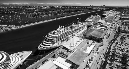 Crusise Ships docked in Miami Port, Florida.