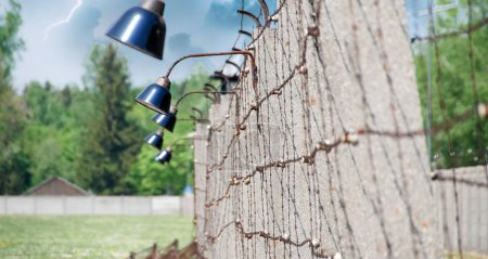 Barbed Wire in Dachau Concentration Camp, Germany...