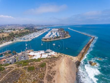 Aerial view of Dana Point coastline and port, California - USA.