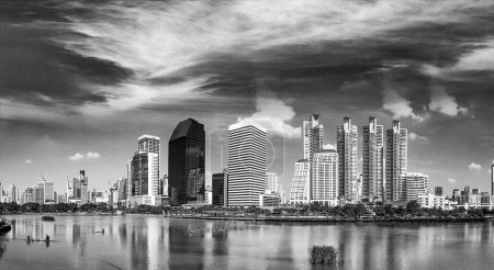 Photo for Bangkok skyline, Thailand. Aerial view of city buildings from Benjakitti Park. - Royalty Free Image
