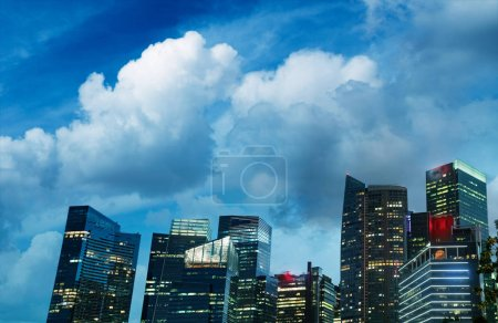 Photo for Downtown buildings of Singapore at night. - Royalty Free Image