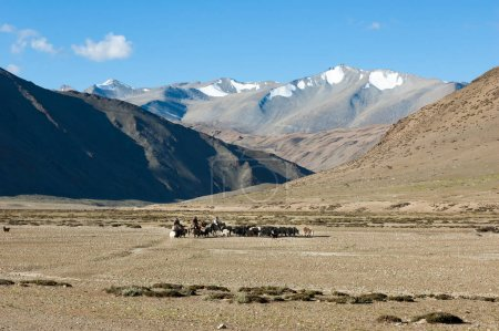 Tibetan nomads travelling with hourses and yaks