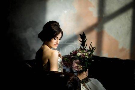 Portrait of beauty bride in white dress.