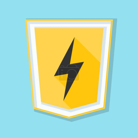 Illustration for Shield with lightning sign, vector illustration - Royalty Free Image