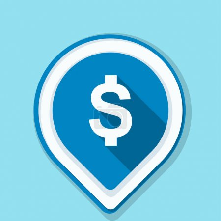 Illustration for Dollar sign navigation pin, vector illustration - Royalty Free Image
