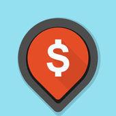Dollar sign navigation pin vector illustration