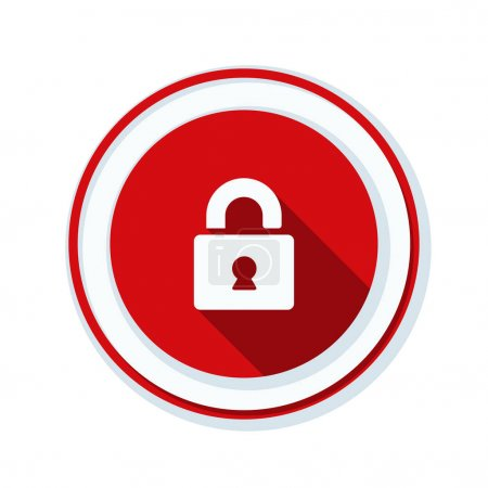 Secure lock button sign, vector illustration...