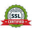SSL Certified button sign with red ribbon, vector,...