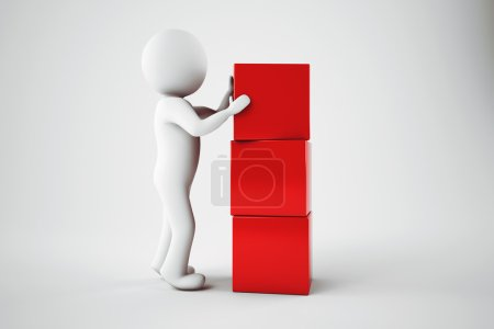 Photo pour Un homme fabriquant des bâtiments avec des cubes rouges. Rendu 3D - image libre de droit