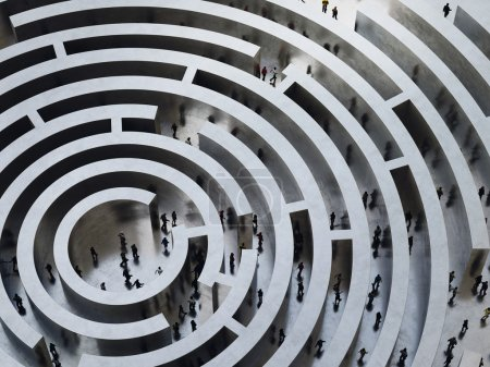 Photo for People entering into a complicated labyrinth. 3D Rendering - Royalty Free Image
