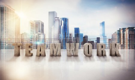 Photo for Written teamwork on a terrace of skyscraper. 3d rendering - Royalty Free Image