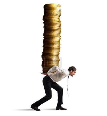 Businessman carries  stack of coins
