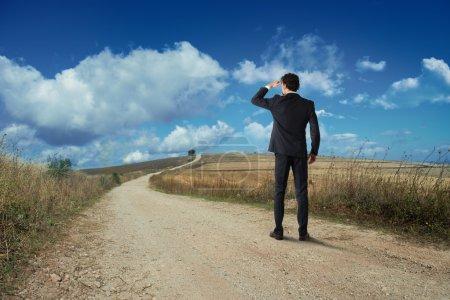Businessman looks at the horizon