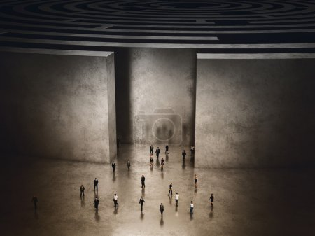 People coming out of a complicated maze. 3D Render...