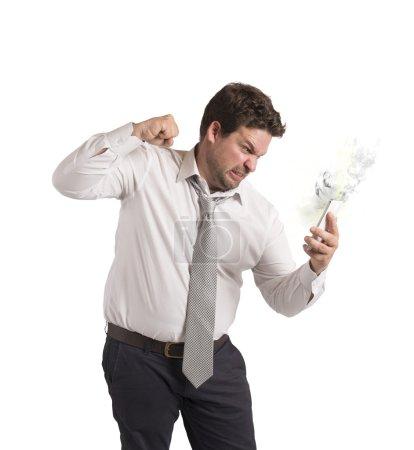 Businessman breaks his cellphone