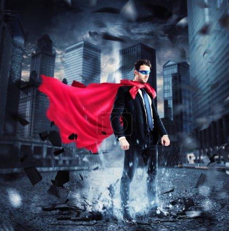Businessman with a superhero cape