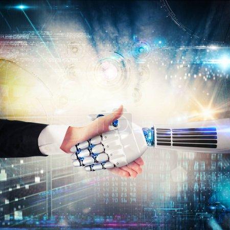 Photo pour Accord entre l'homme et le monde virtuel et la connexion - image libre de droit