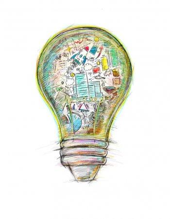 Ampoule avec croquis professionnels