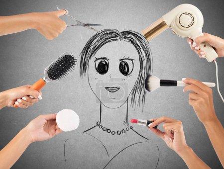 Girl drawn made up