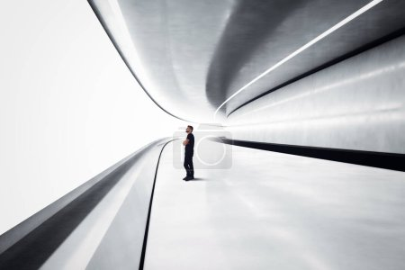 Man in a futuristic tunnel