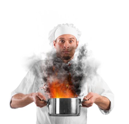 Chef shocked holding a pot
