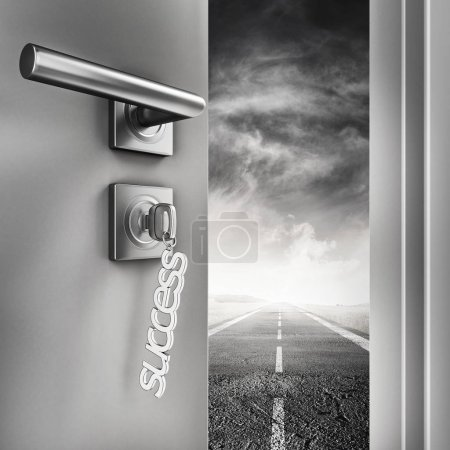 Open door with success keyrings