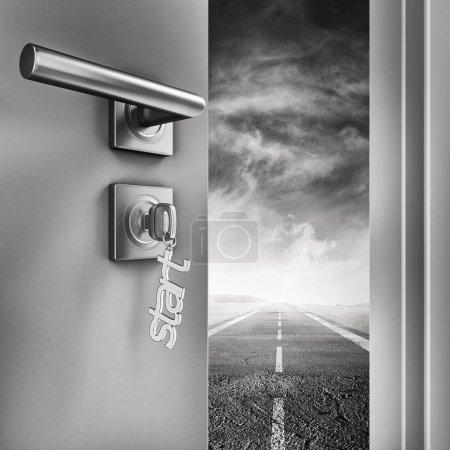Photo pour 3D rendering Ouvrez la porte avec porte-clefs de démarrer sur une route - image libre de droit