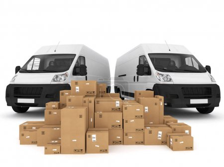 Photo for Loading stack of packed boxes on vans - Royalty Free Image