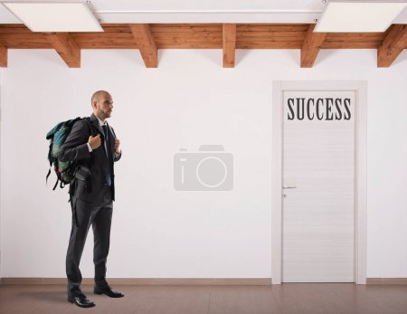 Businessman  looking  on door