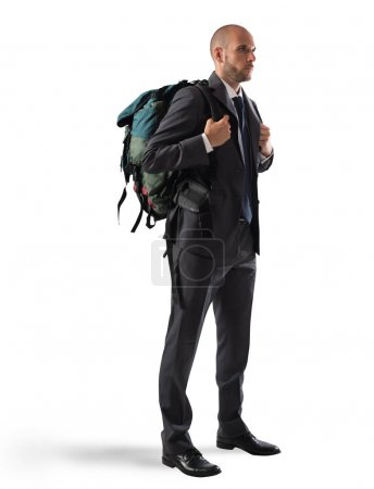 businessman with  explorer backpack