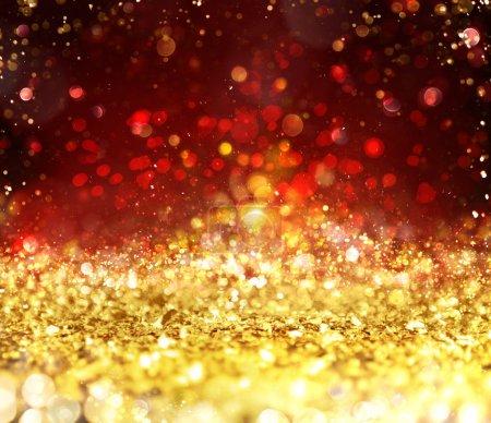Foto de Fondo de la decoración de Navidad con cristales Oro brillantes - Imagen libre de derechos