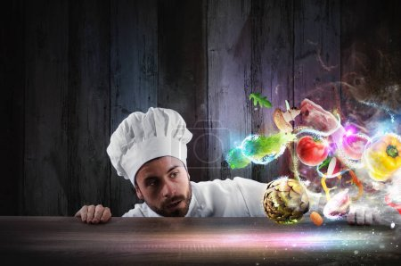 Chef looks enchanted the ingredients