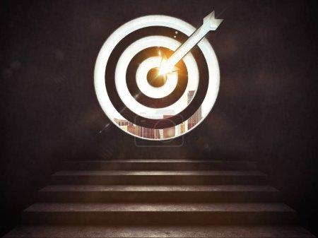 Photo pour Les escaliers jusqu'à une cible avec la flèche gravée dans le mur. Arriver à un but du concept de réussite. rendu 3D - image libre de droit