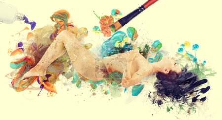 Naked woman painted by colors