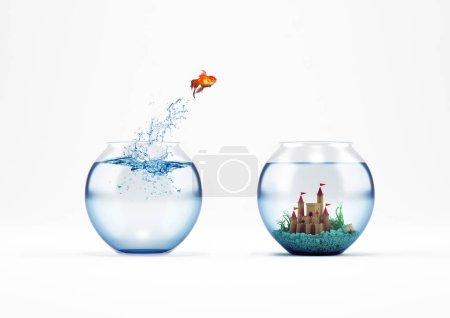 Photo pour Poisson rouge sautant dans un aquarium avec un château. Notion d'amélioration et de progrès. rendu 3D - image libre de droit