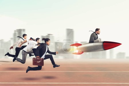Photo for Businessman flying  with rocket during a race with opponent - Royalty Free Image