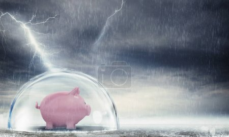 Piggybank safely inside a sphere