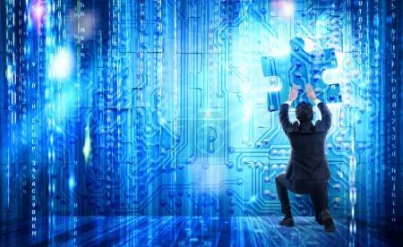 Businessman complete a futuristic puzzle