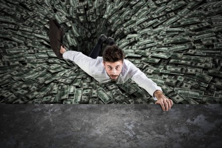 Businessman swallowed by black hole