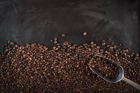 coffee beans on black board