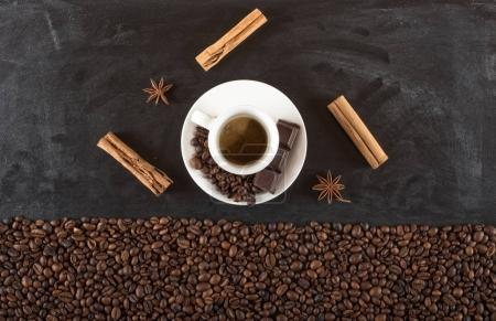 Background of cup coffee beans