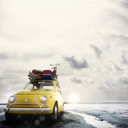 voitures de bagages sur la plage