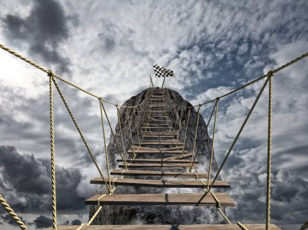 Photo for Reach the success with difficulty. Achievement business goal and Difficult career concept with dangerous bridge - Royalty Free Image