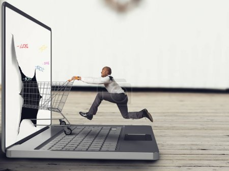 Businessman pushes a Shopping cart