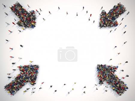 Arrows made of people