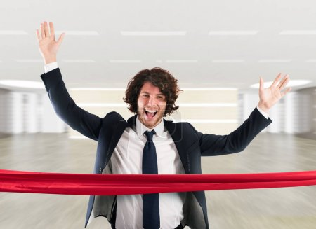 Successful businessman on the finishing line