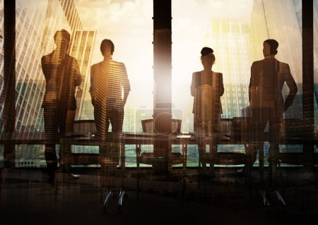 Photo for Group of business partners in office looking for the future. Concept of corporate and startup - Royalty Free Image